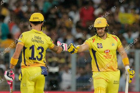 Faf du Plessis, Shane Watson. Chennai Super Kings' Faf du Plessis, left and Shane Watson encourage each other during the VIVO IPL cricket T20 match against Kolkata Knight Riders in Kolkata, India