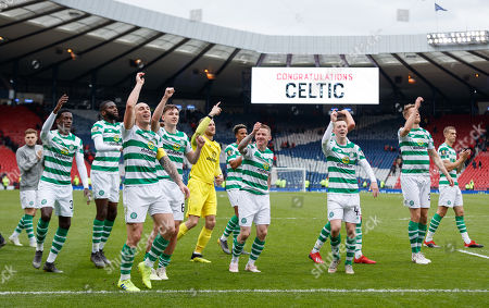 Celtic players celebrate becoming William Hill Scottish Cup Finalists after beating Aberdeen 3-0 in an ill tempered match that saw Dominic Ball & Lewis Ferguson of Aberdeen sent off and Aberdeen Manager Derek McInnes sent to the stand.