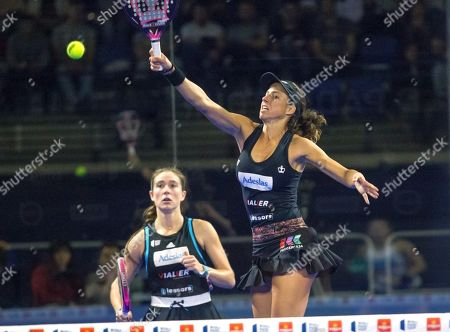 Spanish padel players Marta Ortega (L) and teammate Marta Marrero (R) in action against Alejandra Salazar and Ariana Sanchez on the women's doubles final match of the World Padel Tour's Logrono Open 2019 tournament at the Sports Palace in Logrono, northern Spain, 14 April 2019.