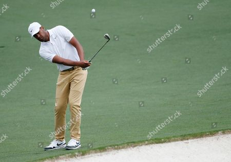 Tony Finau of the US chips on the second hole during the final round of the 2019 Masters Tournament at the Augusta National Golf Club in Augusta, Georgia, USA, 14 April 2019. The 2019 Masters Tournament is held 11 April through 14 April 2019.