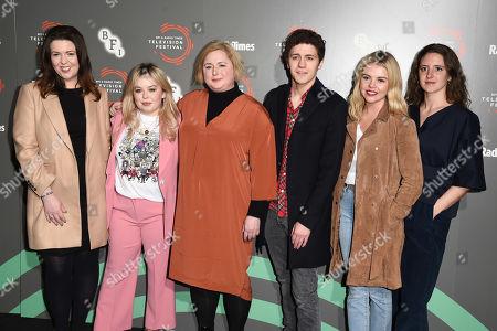 Lisa McGee, Nicola Coughlan, Siobhan McSweeney, Dylan Llewellyn, Saoirse-Monica Jackson and Louisa Harland