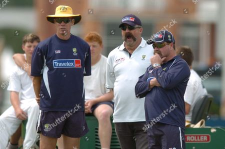 John Buchanan Australian Cricket Team Coach With Selectors Merv Hughes And David Boon Look On As The Australian Cricketers Practice In The Nets Ahead Of Their Game With England At Lords