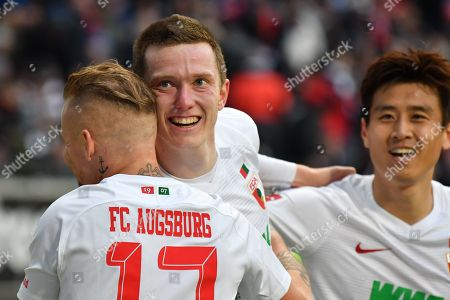 Stock Picture of of  Jonathan Schmid #17 (FC Augsburg), Michael Gregoritsch #11 (FC Augsburg) and Ja-Cheol Koo #19 (FC Augsburg)  1:3, Eintracht Frankfurt vs. FC Augsburg, Football, 1.Bundesliga, 14.04.2019, DFL REGULATIONS PROHIBIT ANY USE OF PHOTOGRAPHS AS IMAGE SEQUENCES AND/OR QUASI-VIDEO