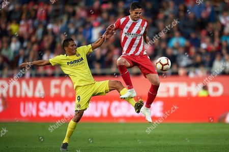 Juanpe of Girona FC and Carlos Bacca of Villarreal CF