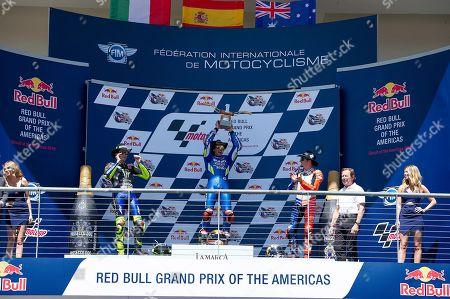 Alex Rins #42 first place (Center) Valentino Rossi #46 second place (Left) and Jack Miller #43 (Right) celebrate MotoGP at the Red Bull Grand Prix of the Americas. Austin,Texas