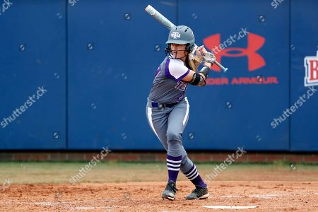 Tennessee Tech's 's Leigh Ellen Thomas connects for a hit during an NCAA college softball game against Belmont, in Nashville, Tenn