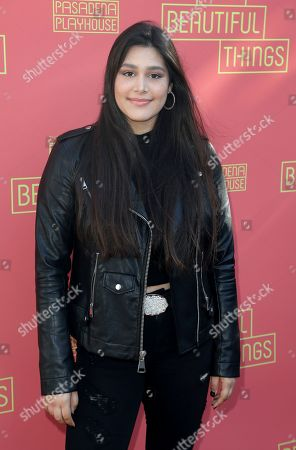 """Stock Picture of Sulor Garretson arrives at the opening night of """"Tiny Beautiful Things"""" at the Playhouse Pasadena, in Pasadena, Calif"""