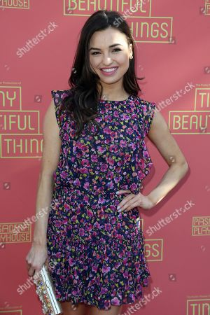 "Jessica Meraz arrives at the opening night of ""Tiny Beautiful Things"" at the Playhouse Pasadena, in Pasadena, Calif"