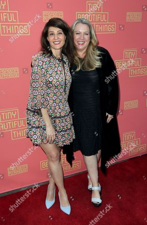 """Stock Photo of Nia Vardalos, Cheryl Strayed. Nia Vardalos, left, and Cheryl Strayed arrive at the opening night of """"Tiny Beautiful Things"""" at the Playhouse Pasadena, in Pasadena, Calif"""