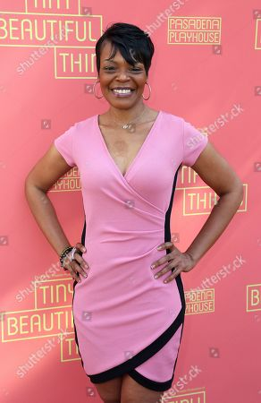"""Stock Picture of Lisa Renee Pitts arrives at the opening night of """"Tiny Beautiful Things"""" at the Playhouse Pasadena, in Pasadena, Calif"""