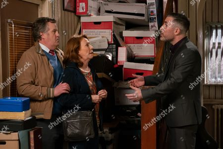 Ep 9750 Monday 22nd April 2019 - 1st Ep Cathy Matthews, as played by Melanie Hill, and Brian Packham, as played by Peter Gunn, pay Rick, as played by Greg Wood, a visit to pay off Alex's loan, but Rick makes it clear that he owes more and he has his passport.