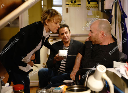 Ep 9744 Monday 15th april 2019 - 1st Ep Sally Metcalfe, as played by Sally Dynevor, calls in the cab office and is appalled to find Dev Alahan, as played by Jimmi Harkishin, and Steve McDonald messing about with a blood pressure monitor whilst Tim Metcalfe, as played by Joe Duttine, pretends to have another heart attack. An upset Sally implores Tim to start taking his condition seriously as she doesn't want him to die.