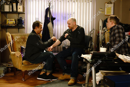 Ep 9744 Monday 15th april 2019 - 1st Ep Sally Metcalfe calls in the cab office and is appalled to find Dev Alahan, as played by Jimmi Harkishin, and Steve McDonald, as played by Simon Gregson, messing about with a blood pressure monitor whilst Tim Metcalfe, as played by Joe Duttine, pretends to have another heart attack. An upset Sally implores Tim to start taking his condition seriously as she doesn't want him to die.