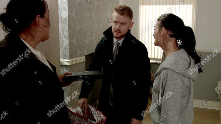 Ep 9746 Wednesday 17th April 2019 - 1st Ep Rick introduces Gary Windass, as played by Mikey North, to his side-kick Sharon, as played by Naomi Cooper-Davies, and says she will show him the ropes on his first debt collection. As the first house Gary is horrified to recognise the client as Vicky Jeffries, as played by Kerri Quinn. Sharon orders Gary to go through Vicky's things and take anything of value. Having ransacked Vicky's possessions, Sharon starts knocking her about. How will Gary react?