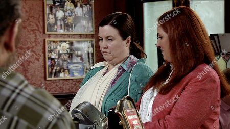 Ep 9755 Friday 26th April 2019 - 2nd Ep When Mary Taylor, as played by Patti Clare, arrives in the Rovers with her wrist strapped up, Jan offers to buy her a drink by way of an apology, but Mary, as played by Louisa Patikas, gives him short shrift.