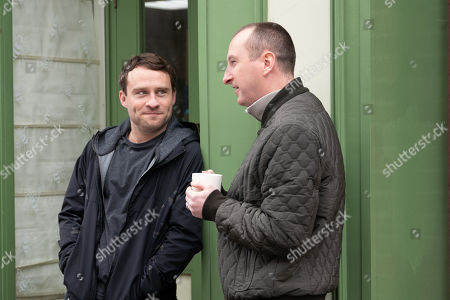 Ep 9752 Wednesday 24th April 2019 - 1st Ep When Paul Foreman, as played by Peter Ash, suggests Kirk Sutherland, as played by Andy Whyment, should sing a couple of his songs at the St George's Day celebrations in the pub, Beth Tinker steps in and insists he'd want paying.