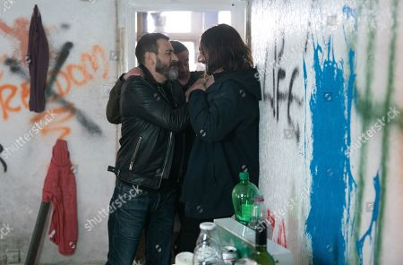 Ep 9754 Friday 26th April 2019 - 1st Ep Peter Barlow, as played by Chris Gascoyne, goes back to the squat and gets heavy with one of the squatters, Johnny Connor, as played by Richard Hawley, drags Peter off the man and Peter gives them his phone number before leaving.