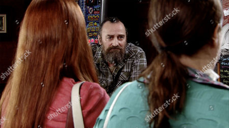 Ep 9755 Friday 26th April 2019 - 2nd Ep When Mary Taylor, as played by Patti Clare, arrives in the Rovers with her wrist strapped up, Jan, as played by Piotr Baumann, offers to buy her a drink by way of an apology, but Mary, as played by Louisa Patikas, gives him short shrift.