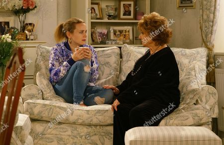 Ep 9753 Wednesday 24th April 2019 - 1st Ep When Gemma Winter, as played by Dolly-Rose Campbell, calls at Rita Tanner's, as played by Barbara Knox, to tell her about their problems Rita questions whether the sickness could be something else and suggests a pregnancy test. Gemma is shocked when the test is positive.