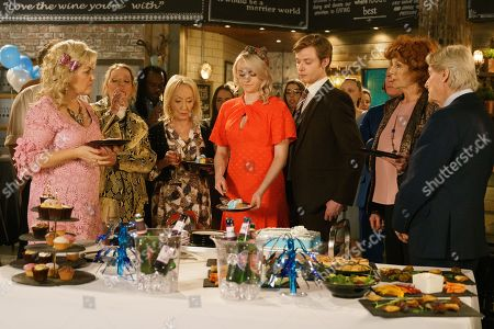 Ep 9751 Monday 22nd April 2019 - 2nd Ep Bertie's christening descends into chaos and a food fight as the TInkers and Barlows row over the dog poo. With Sinead Tinker, as played by Katie McGlynn, Daniel Osbourne, as played by Rob Mallard, Claudia Colby, as played by Rula Lenska, Ken Barlow, as played by William Roache, Craig Tinker, as played by Colson Smith, Beth Sutherland, as played by Lisa George.