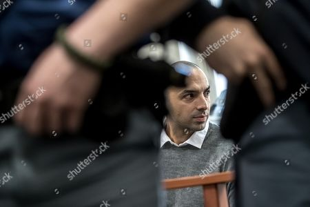 Arash Nahvi waits for start of court proceedings at the Municipal Court in Prague, Czech Republic, April 15, 2019. The prosecutor accused two Dutch, Armin and Arash Nahvi, from a group of seven men, of attempted murder. Seven Dutch men were arrested in Prague for assaulting and waiter in the center of the city on 21 April 2018. As media reported, men were caught on CCTV video attacking a waiter, who told them they could not drink their own alcohol while sitting on the cafe terrace. The assaulted waiter was in intensive care in hospital, where he was treated with brain hemorrhage, broken facial bones and injured eye.