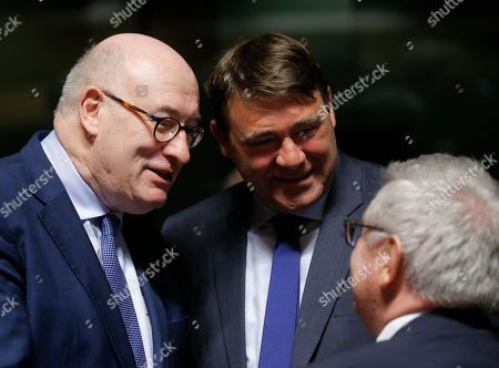 (L-R) European Commissioner for Agriculture and Rural Development Irish Phil Hogan, Belgian Minister SMEs, Entrepreneurs, Agriculture and Social Integration Denis Ducarme and Walloon Minister of Agriculture, Nature, Rurality, Tourism and Patrimony Belgian Rene Collin at the start of the Agriculture and Fisheries Council in Luxembourg, 15 April 2019. Ministers will focus on Post 2020 Common Agricultural Policy (CAP) reform package, Task Force Rural Africa (TFRA) and a discussion on the impact of large carnivores and other species on agriculture.