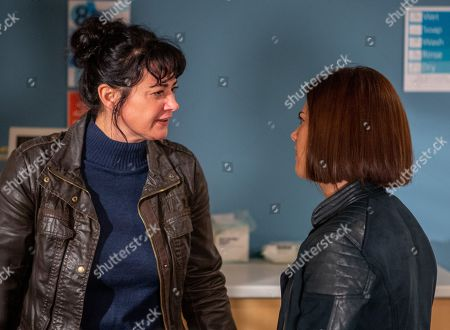 Ep 8450 Thursday 18th April 2019 - 1st Ep Matty Barton struggles to hide his nerves as he waits to have his operation. After he's gone in, Moira Barton, as played by Natalie J Robb, lashes out at Victoria Barton, as played by Isobel Hodgins. Upset, she confesses her distress for Matty stems from Holly's death and Victoria comforts her. As they wait, Moira fears the worst when she sees a nurse running towards Matty's operating theatre.
