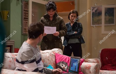 Ep 8447 Tuesday 16th April 2019 Matty Barton, as played by Ash Palmisciano, is apprehensive ahead of his surgery. Also pictured Moira Barton, as played by Natalie J Robb, and Victoria Barton, as played by Isobel Hodgins.