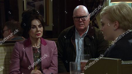 Ep 8448 Tuesday 16th April 2019 - 2nd Ep Surrogacy - Aaron Dingle is stressed ahead of their meeting with potential surrogate Natalie, as played by Thea Beyleveld, when Robert Sugden is stuck on the road. Faith Dingle, as played by Sally Dexter, promises to keep Natalie entertained in the pub to delay her but soon she and Bear, as played by Joshua Richards, get carried away spinning lies to make the boys seem an attractive proposition to Natalie - but could it backfire? With Paddy Kirk, as played by Dominic Brunt.