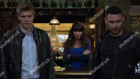 Ep 8448 Tuesday 16th April 2019 - 2nd Ep Surrogacy - Aaron Dingle, as played by Danny Miller, is stressed ahead of their meeting with potential surrogate Natalie when Robert Sugden, as played by Ryan Hawley, is stuck on the road. Faith Dingle promises to keep Natalie entertained in the pub to delay her but soon she and Bear get carried away spinning lies to make the boys seem an attractive proposition to Natalie - but could it backfire? With Chas Dingle, as played by Lucy Pargeter.