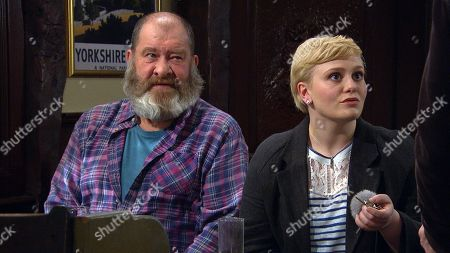 Ep 8448 Tuesday 16th April 2019 - 2nd Ep Surrogacy - Aaron Dingle is stressed ahead of their meeting with potential surrogate Natalie, as played by Thea Beyleveld, when Robert Sugden is stuck on the road. Faith Dingle promises to keep Natalie entertained in the pub to delay her but soon she and Bear, as played by Joshua Richards, get carried away spinning lies to make the boys seem an attractive proposition to Natalie - but could it backfire?