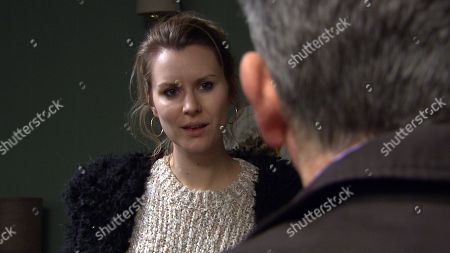 Stock Picture of Ep 8446  Monday 15th April 2019 Following last week's attack, Harriet Finch becomes increasingly terrified by the sinister prank calls she's receiving. When Bob Hope, as played by Tony Audenshaw, hears Dawn, as played by Olivia Bromley, on the phone in the Woolpack corridor, he starts to think she may be behind it and later heads to Woodbine to share his theory with Harriet and a furious Dawn who says she's moving out.