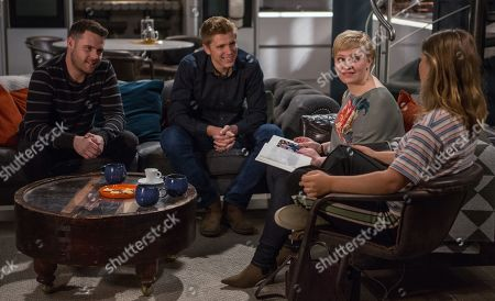 Ep 8454 Tuesday 23rd April 2019 Aaron Dingle, as played by Danny Miller, and Robert Sugden, as played by Ryan Hawley, worry that their Surrogacy - dream is over when Natalie, as played by Thea Beyleveld, learns of Aaron and Liv's, as played by Isobel Steele, criminal past.