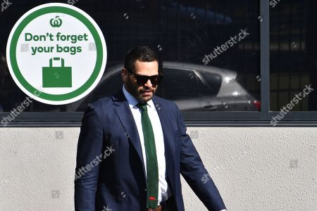 South Sydney Rabbitohs captain Greg Inglis arrives for a press conference at Redfern Oval where Inglis announced his immediate retirement from Rugby League, in Sydney, New South Wales, Australia, 15 April 2019. Inglis has been battling injury and hasn't played for the Rabbitohs since round 2 of the NRL.