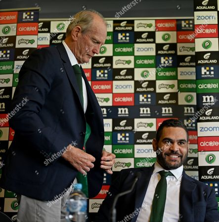 South Sydney Rabbitohs captain Greg Inglis with coach Wayne Bennett during a press conference at Redfern Oval where Inglis announced his immediate retirement from Rugby League, in Sydney, New South Wales, Australia, 15 April 2019. Inglis has been battling injury and hasn't played for the Rabbitohs since round 2 of the NRL.