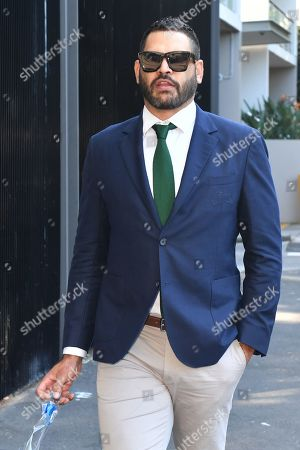 South Sydney Rabbitohs captain Greg Inglis arrives at South Sydney headquarters where it is expected he will announce his immediate retirement from Rugby League, in Sydney, New South Wales, Australia, 15 April 2019. Inglis has been battling injury and hasn't played for the Rabbitohs since round 2 of the NRL.