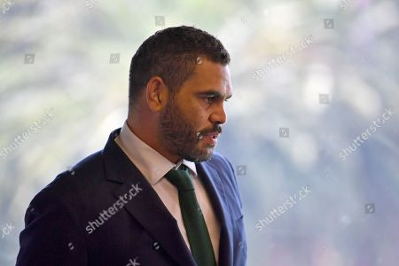 South Sydney Rabbitohs captain Greg Inglis waits for the start of his press conference with coach Wayne Bennett, General Manager of Football Shane Richardson and CEO Blake Soley where Inglis announced his immediate retirement from Rugby League, in Sydney, New South Wales, Australia, 15 April 2019. Inglis has been battling injury and hasn't played for the Rabbitohs since round 2 of the NRL.