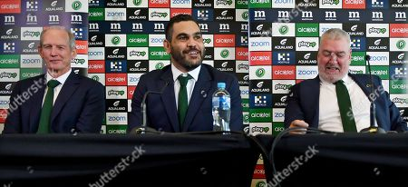 South Sydney Rabbitohs captain Greg Inglis (C) with coach Wayne Bennett (L) and General Manager of Football Shane Richardson and CEO Blake Soley (R) during a press conference at Redfern Oval where Inglis announced his immediate retirement from Rugby League, in Sydney, New South Wales, Australia, 15 April 2019. Inglis has been battling injury and hasn't played for the Rabbitohs since round 2 of the NRL.
