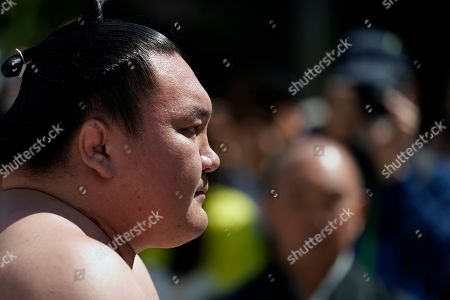 Yokozuna (sumo grand champion) Hakuho performs a ring-entering ceremony at the Yasukuni Shrine precincts in Tokyo, Japan, 15 April 2019. More than six thousand spectators enjoyed this one-day event where sumo wrestlers demonstrate their skills. Sumo wrestling is originated in Japan where it is practiced professionally. Its tradition is very ancient and the sport includes many ritual elements related to the Shinto religion. In the past years, a record of a number of foreigners compete in the top two divisions and both current yokozuna (grand champions) are from Mongolia.