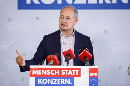 Top candidate for the upcoming European elections of Social Democratic Party of Austria (SPOe) Andreas Schieder speaks during a press conference about 'Rechtsstaatlichkeit und Demokratie in Europa' (Rule of law and democracy in Europe) in Vienna, Austria, 15 April 2019.