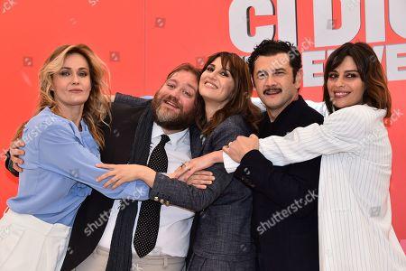 Stock Image of Lucia Mascino, Stefano Fresi, Paola Cortellesi, Vinicio Marchioni and Claudia Pandolfi