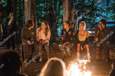 Stock Photo of Dylan Arnold as Noah, Josephine Langford as Tessa Young, Khadijha Red Thunder as Steph Jones, Pia Mia Perez as Tristan and Samuel Larsen as Zed Evans