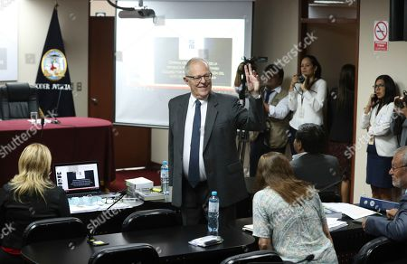 Peru's former President Pedro Pablo Kuczynski arrives for a court hearing to determine his release, in Lima, Peru, . A judge in Peru ordered last week the detention for 10 days of the former leader as part of a money laundering probe into his consulting work for the company at the heart of Latin America's biggest graft scandal