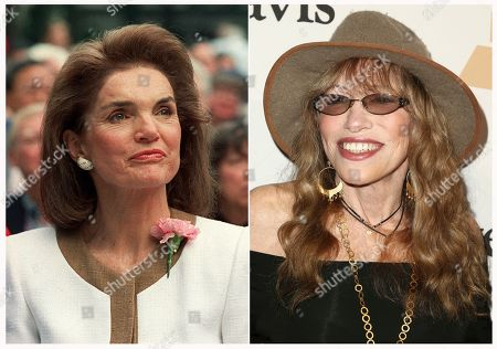 "This combination of photos shows Jacqueline Kennedy Onassis in New York in 1992, left and Carly Simon at the 2016 Clive Davis Pre-Grammy Gala in Beverly Hills, Calif., on Feb. 14, 2016. Simon is writing a memoir about Kennedy Onassis. Farrar, Straus and Giroux announced, that Simon's ""Touched by the Sun"" is scheduled for Oct. 22. According to the publisher, the two met at a summer party on Martha's Vineyard and began an ""improbable, but lasting friendship"