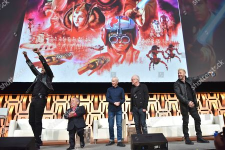 "Ahmed Best, Warwick Davis, Anthony Daniels, Ian McDiarmid, Ray Park. Ahmed Best, from left, Warwick Davis, Anthony Daniels, Ian McDiarmid and Ray Park participate during the ""Star Wars: Phantom Menace 20th Anniversary Celebration"" panel on day 4 of the Star Wars Celebration at Wintrust Arena, in Chicago"
