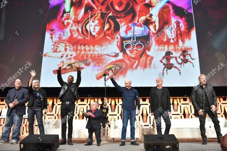 "Ahmed Best, Warwick Davis, Anthony Daniels, Ian McDiarmid, Ray Park. John Knoll, from left, Jean Bolte, Ahmed Best, Anthony Daniels, Warwick Davis, Ian McDiarmid and Ray Park participate during the ""Star Wars: Phantom Menace 20th Anniversary Celebration"" panel on day 4 of the Star Wars Celebration at Wintrust Arena, in Chicago"