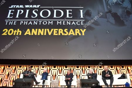 "Ahmed Best, Warwick Davis, Anthony Daniels, Ian McDiarmid, Ray Park. Ahmed Best, from left, Anthony Daniels, Warwick Davis, Ian McDiarmid and Ray Park participate during the ""Star Wars: Phantom Menace 20th Anniversary Celebration"" panel on day 4 of the Star Wars Celebration at Wintrust Arena, in Chicago"