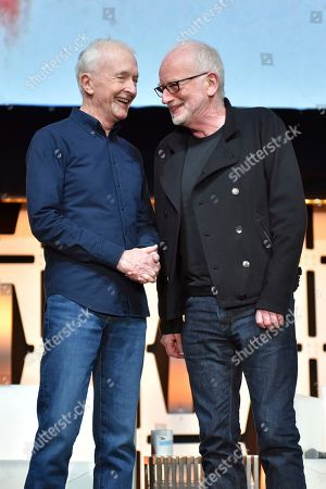 "Anthony Daniels, Ian McDiarmid. Anthony Daniels, left, and Ian McDiarmid participates during the ""Star Wars: Phantom Menace 20th Anniversary Celebration"" panel on day 4 of the Star Wars Celebration at Wintrust Arena, in Chicago"
