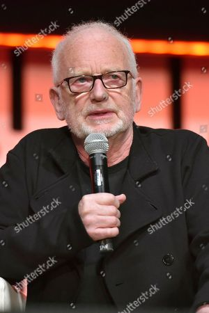 "Stock Picture of Ian McDiarmid participates during the ""Star Wars: Phantom Menace 20th Anniversary Celebration"" panel on day 4 of the Star Wars Celebration at Wintrust Arena, in Chicago"