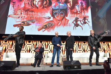 "Stock Image of Ahmed Best, Warwick Davis, Anthony Daniels, Ian McDiarmid, Ray Park. Ahmed Best, from left, Warwick Davis, Anthony Daniels, Ian McDiarmid and Ray Park participate during the ""Star Wars: Phantom Menace 20th Anniversary Celebration"" panel on day 4 of the Star Wars Celebration at Wintrust Arena, in Chicago"